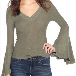 Free People Intimately Army Green Ruffle Top XS